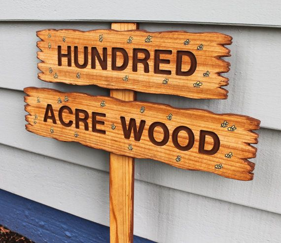 HUNDRED ACRE WOOD, Classic Winnie The Pooh Sign, Wooden Party Signs, Birthday Decor on Etsy, $58.00