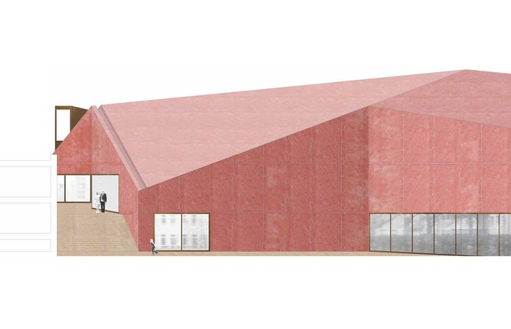 elevation - competition drawing - Community Hall - Cham,Germany - DRDH Architects