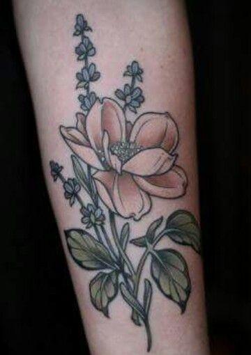 Wild rose and lavender Wonderland Tattoo Portland Oregon