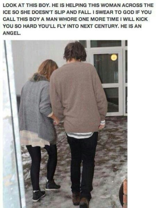 Can we comment on how Harry, the most clumsy person ever, is helping someone across some ice. Can no one else see the danger here?