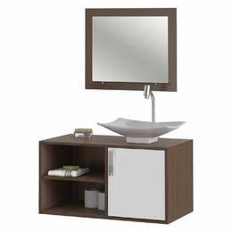 Gabinete para Banheiro com Cuba e Espelheira Lisboa Valencia Castanho/Branco - MGM Móveis