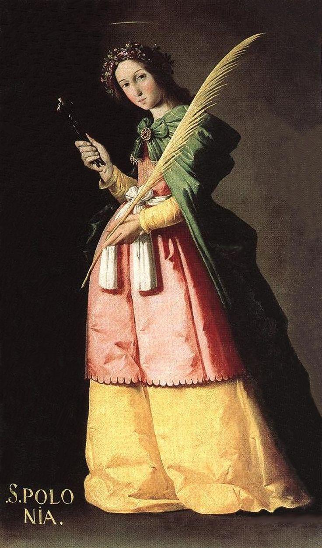 """Art from Spain - Francisco de Zurbarán (1598 – 1664).""""Santa Apolonia, 1630, Muséo del Louvre. Francia. Las numerosas obras de Zurbarán en muséos fuera de España, se debe al expólio que fue victima Sevilla por el ejercito de Napoleón. El mariscal Soult saqueó iglesias y conventos, sintíendo predilección entre otros por Murillo y Zurbarán. En museos de Francia se puede localizar más de un centenar de obras, que se niegan a devolver."""