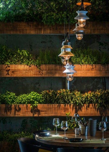 Marset santorini suspension outdoor lamps at segev kitchen garden in hod hasharon israel