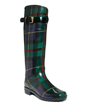 Green plaid Ralp Lauren rain boots. Just bought these!  #preppy