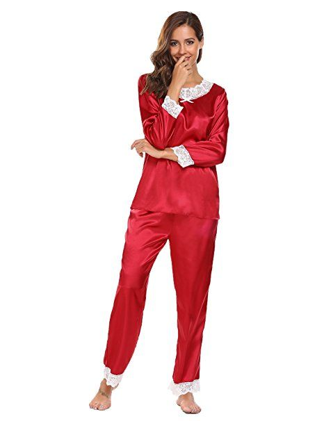 91ca146ff6e459 ADOME Damen Lang Schlafanzug Satin Pyjamas Langarm Zweiteiliger Spitze  V-Asuschnitt Winerot S- pyjama pyjamas frauen unterwäsch… | Pyjama Trends  Frauen in ...