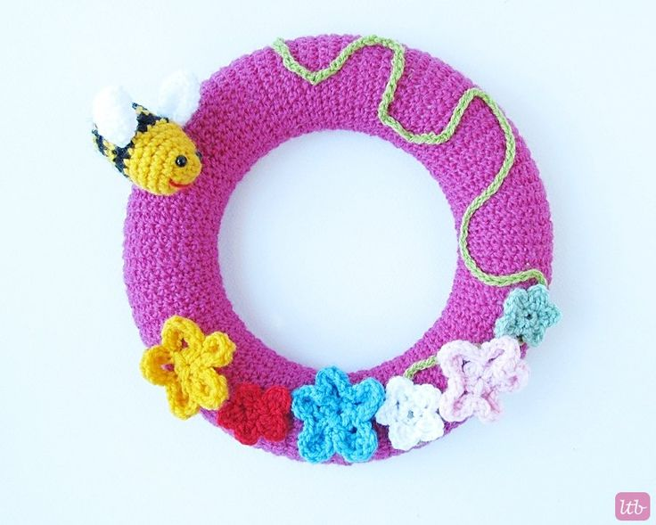 Crochet Spring Wreath with Free Pattern