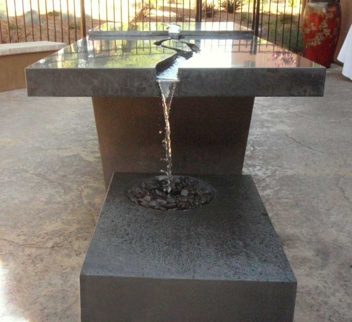 Water Dining Tables ~ Concrete water feature tabl g artists five feet from
