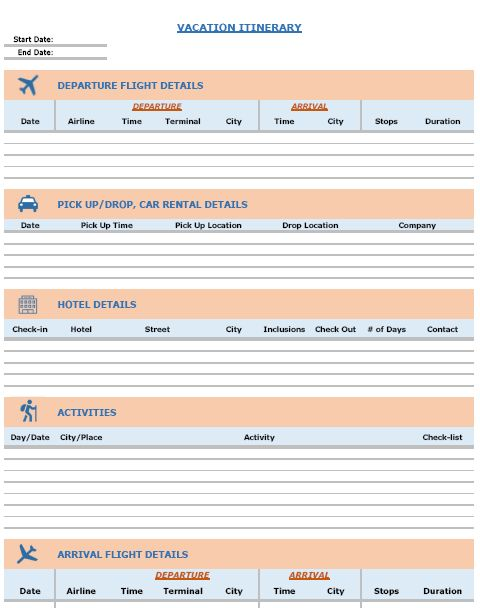 FREE Excel Templates Combo - Vacation Itinerary Planner + Packing List Template + Expense Calculator Template