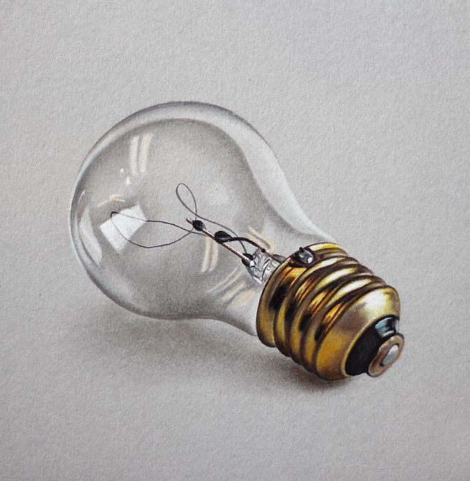 lightbulb realistic drawing by marcello barenghi