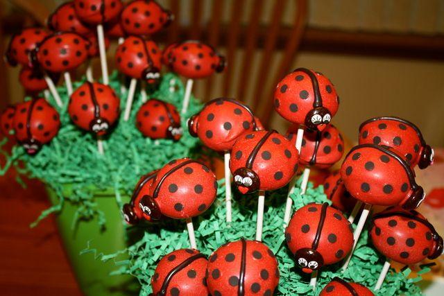 Cake pops at a Ladybug Party #ladybugparty #cakepops