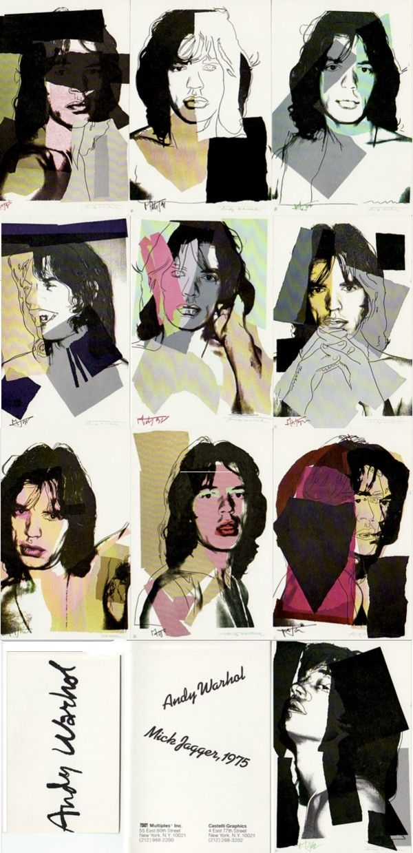 Andy Warhol, Mick Jagger, 1975. Publisher's Prospectus for the 1975 Andy Warhol portfolio of ten color silkscreens of Jagger.