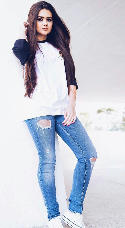 Roupa despojada, Jeans rasgado + blusa branca