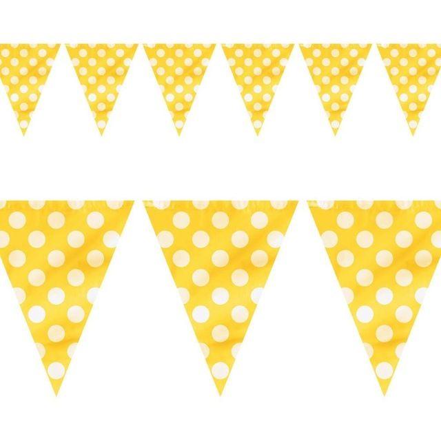 Fiesta de cumpleaños decoración kits 3.5 m 12ft papel amarillo blanco lunares punto gallardete de la fiesta Bunting decoración