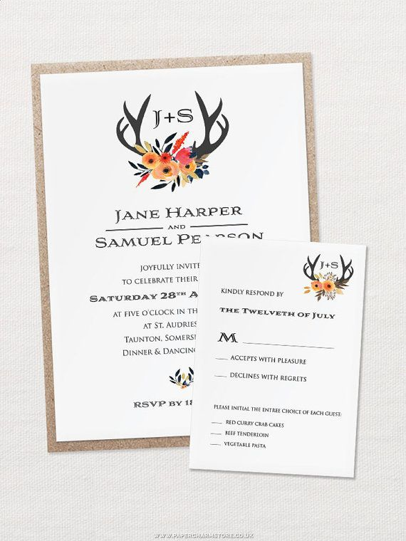 Layered Rustic Floral Antlers Wedding by pineappleinvitations