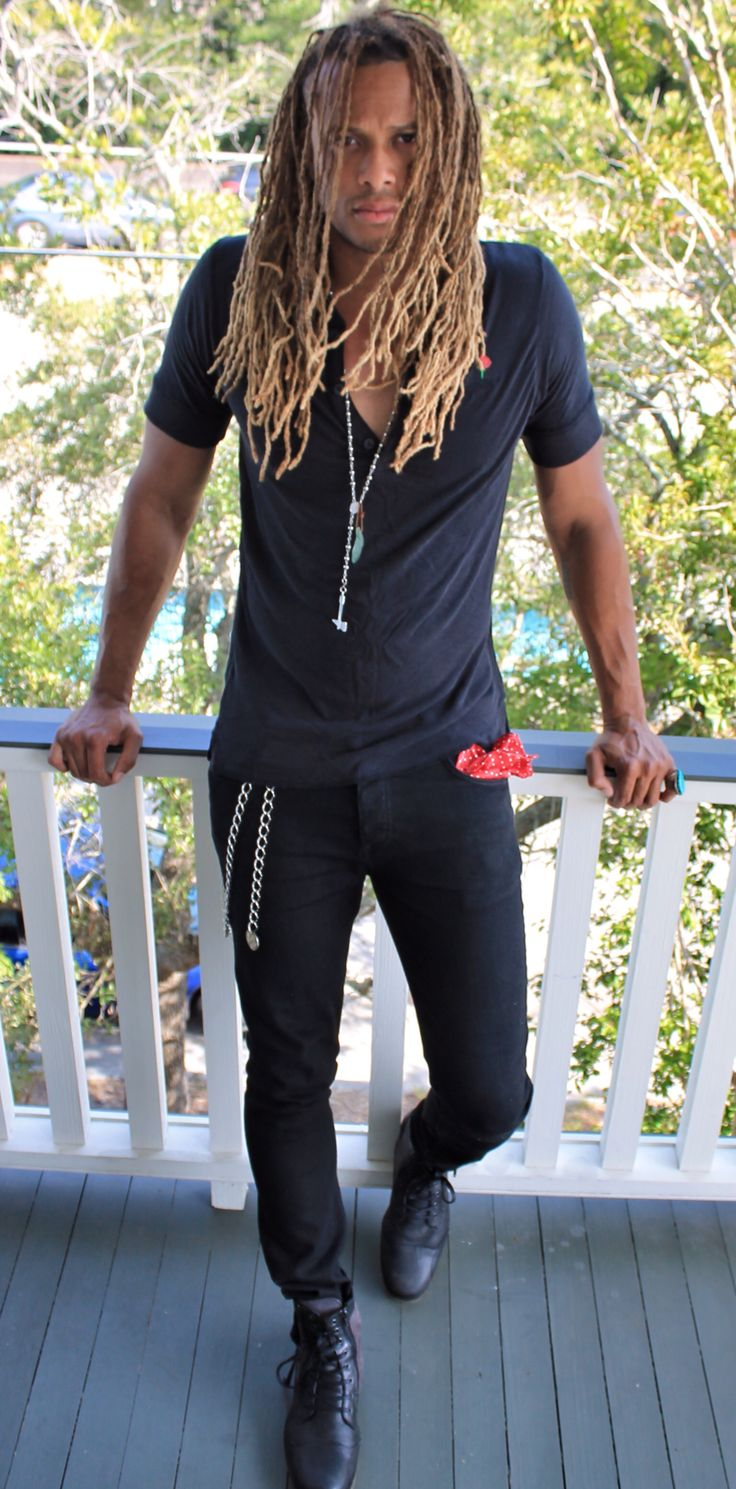 Mens long hairstyle / hair color / dreads / surfer / surf hair / blonde / balayage / beachy / highlights / natural texture