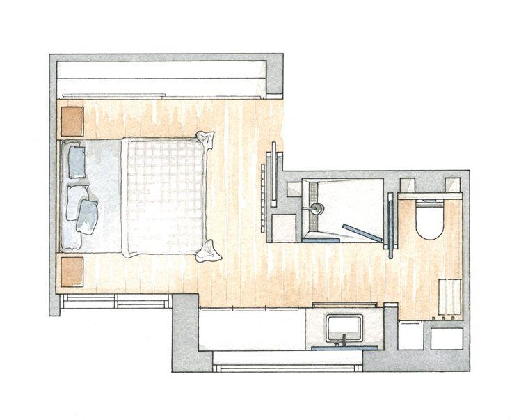 M s de 25 ideas incre bles sobre dormitorio desv n en for Banos divididos en tres