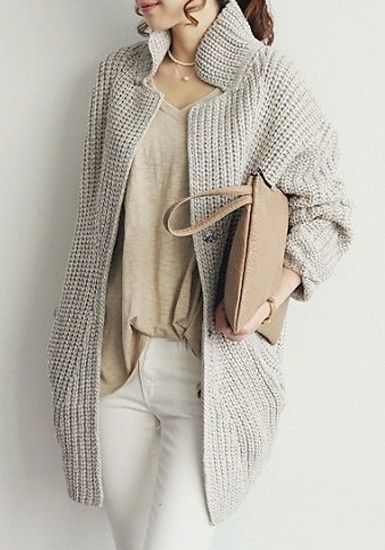 Grey Oversized Coat - Ribbing At Front And Hem