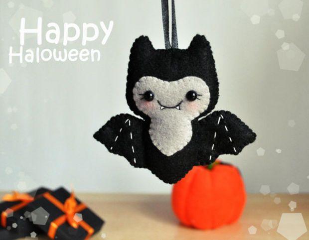 Cute Halloween ornament felt Bat decor Halloween gift Party favors Halloween decorations felt ornament Bat scary decor Halloween