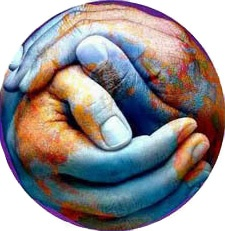 An eye for an eye only makes the world blind. -Ghandi: Earth School, Earth Art, Handen Hands, Hands Hearts, Colaborar Con, Peace, Planet Earth, Earth Hands, In The