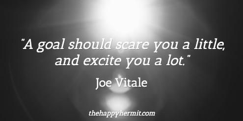 """A goal should scare you a little, and excite you a lot."" Joe Vitale"