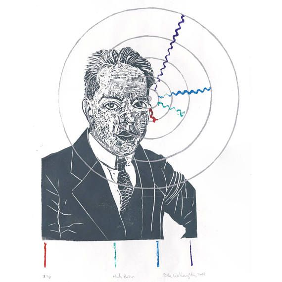 Niels Bohr History of Physics Linocut - Block Print Bohr Hydrogen Atom with Balmer Series Spectral Lines - Portrait Physicist 2nd Edition by minouette now at http://ift.tt/1PzjenK