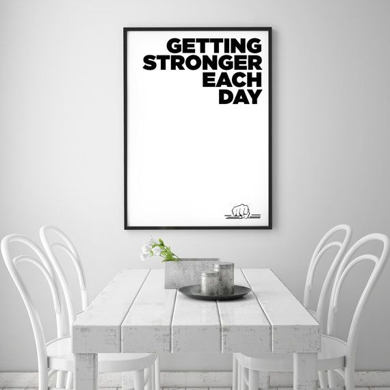 Motivational Wall Decor Getting Stronger Each Day by HelloTypo