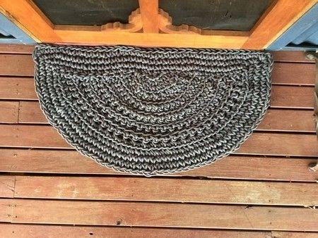 A stylish welcome: handmade crochet grey door mat