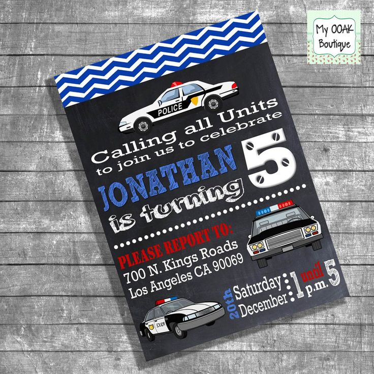 Birthday police invitation party invitation kids police cars chalkboard invite policeman party digital printable invitation  13107 by myooakboutique on Etsy