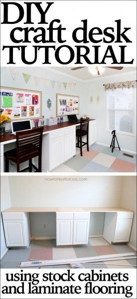 DIY craft desk tutorial using stock cabinets and plank flooring. LOVE this! Gives two desk spaces and TONS of storage!
