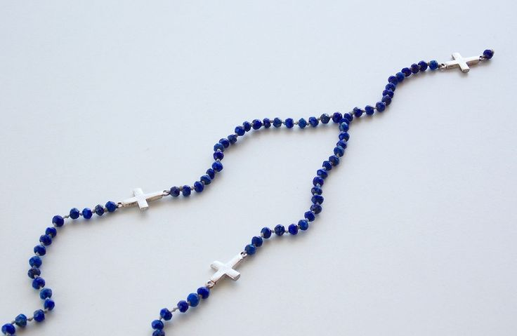 Rosary from Lapis Lazuli with 3 crosses from silver 925- Price:84.00€