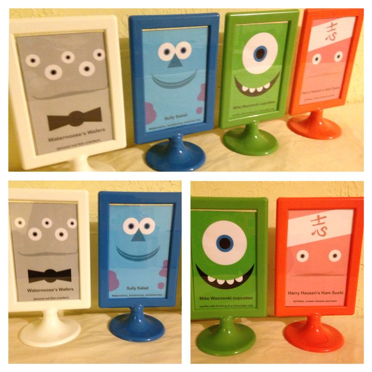 Snack signs for a Monster's Inc themed birthday party. Used IKEA picture frames. Images are Harry Hausen's ham sushi, Mike Wazowski cupcakes, Sully salad and Waternoose's wafers.