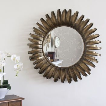 Gold Antiqued Round Metal Framed Mirror