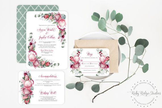 """The """"Pretty Protea - Burgundy Suite, from the Ruby Ridge Studios wedding suite collection. A bohemian floral style with a beautiful collection of native watercolour florals such as king protea, flower gumnuts, eucalyptus leaves and more! Burgundy and blush tones combined with pretty calligraphy complement the design perfectly. *Please note that no physical item will be sent - these are digital files personalised for you and sent by email* Measurements for individual cards: Invitation: 5 ..."""