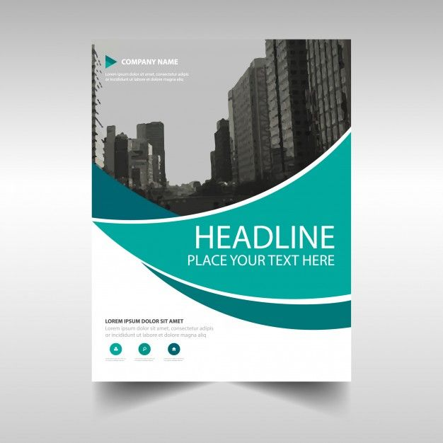 Modern corporate brochure with wavy shapes Free Vector