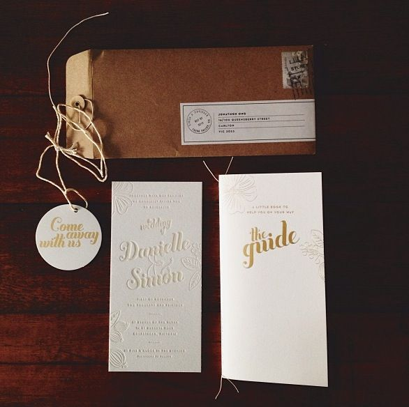 letterpress invitation and gold foil guidebook / swing tag by Vignette Design photography by Jon Ong