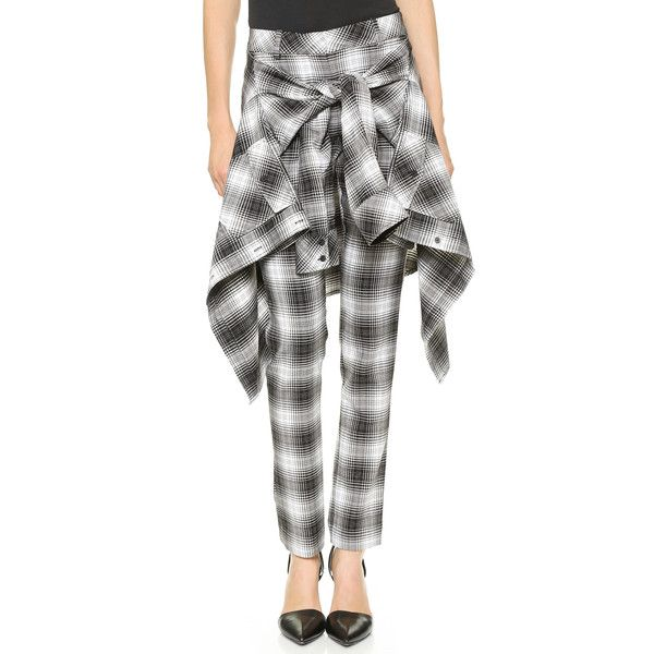 Robert Rodriguez Tartan Cigarette Pants - Black/White ($119) ❤ liked on Polyvore featuring pants, bottoms, jeans, flannel, tops, flannel pants, plaid trousers, robert rodriguez pants, tartan plaid pants and zip pants