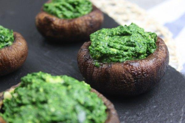 Portobellosvampe med spinat