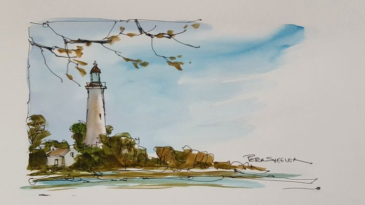A quick and fun, pen and wash demonstration of a Lighthouse painting. Ea...