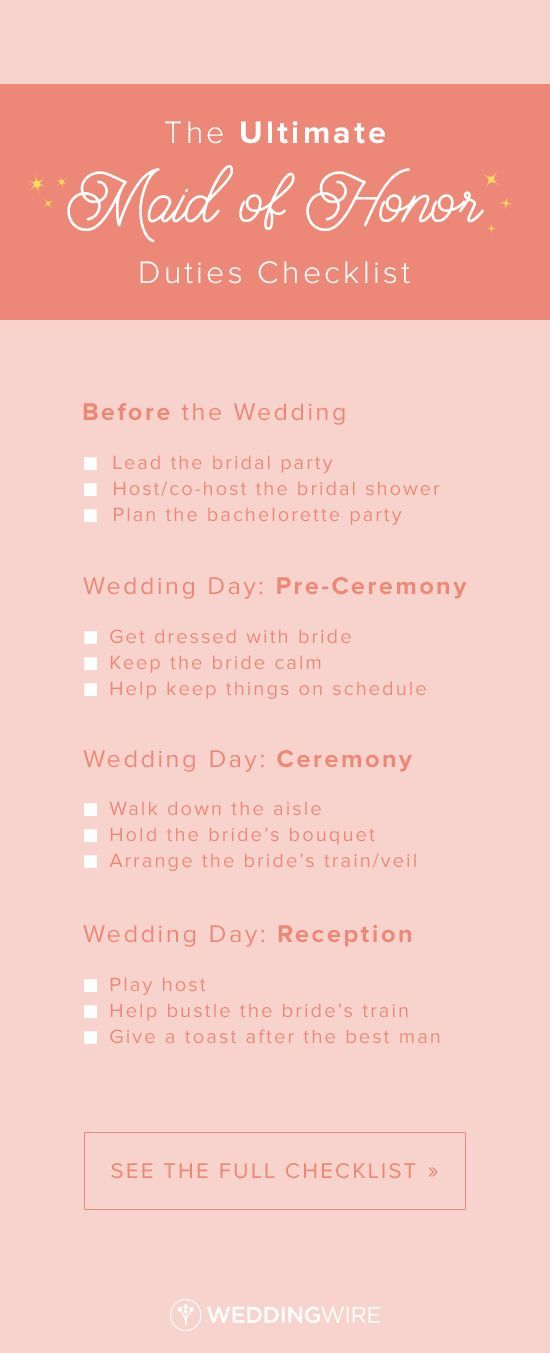 The Maid of Honor Duties Checklist You Need to Bookmark ASAP  wedding  Pinterest  Maids