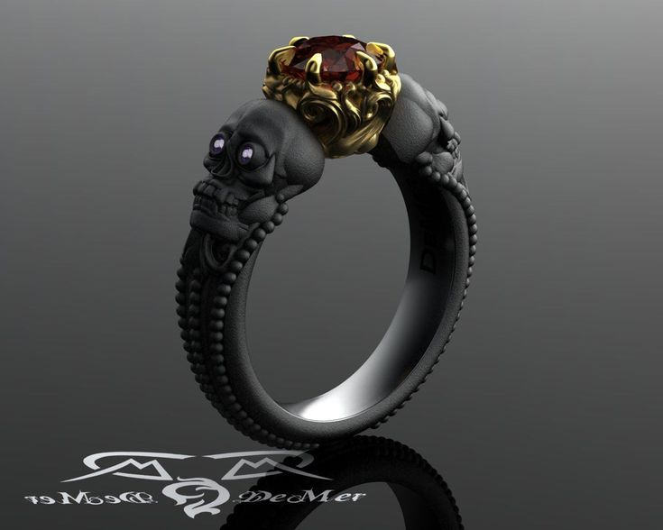 Skull engagement ring with red diamond in solid blackened 14kt gold. Gothic engagement ring. Shared breath. Spooky Jewelry. Amethyst Eyes by DeMerJewelry on Etsy https://www.etsy.com/listing/248502548/skull-engagement-ring-with-red-diamond