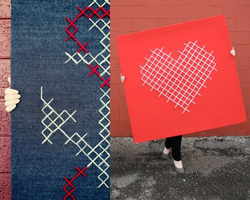 Love these giant cross stitch pieces.   http://www.designsponge.com/2012/02/jessica-decker.html
