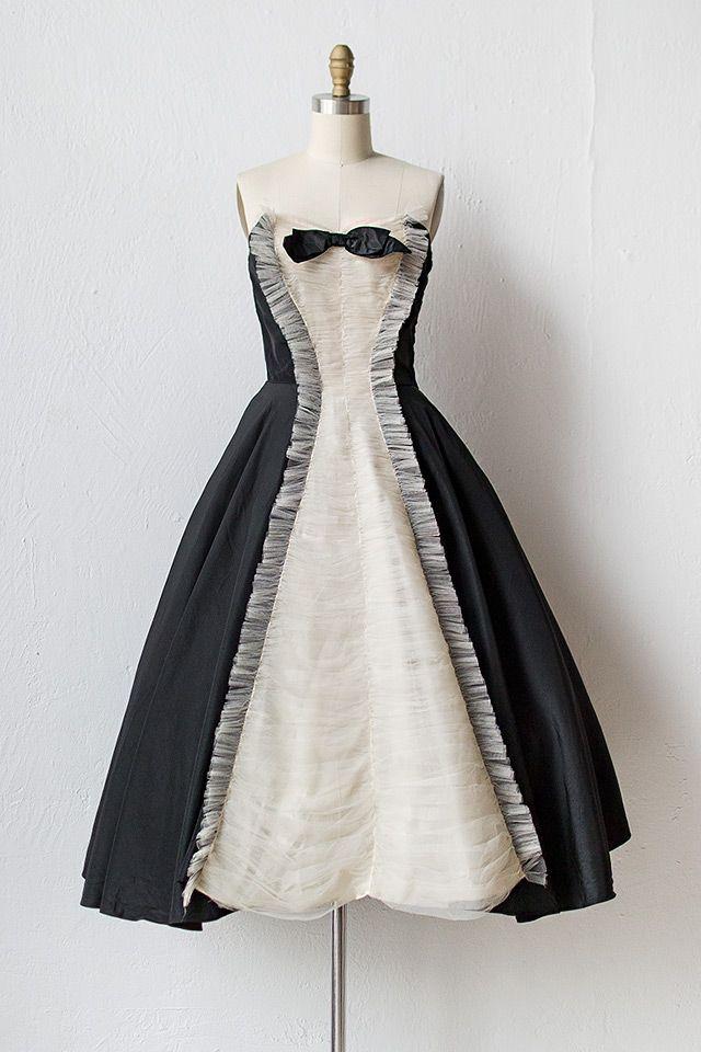 vintage 1950s black tuxedo party dress | Black Tie Affair Dress