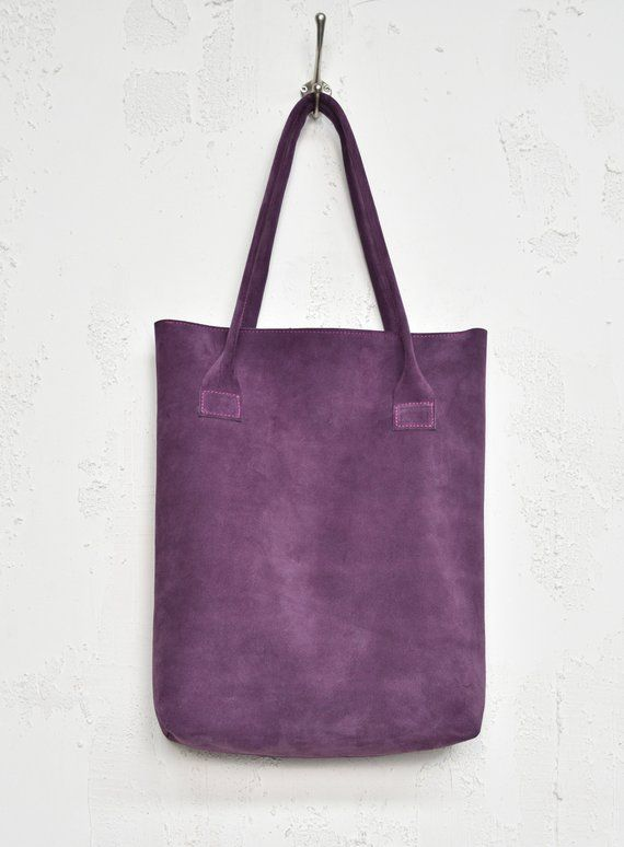 84c28765baaa Smooth Violet Carry-All Bag. Handmade from soft suede full grain leather.  The Shopper fits laptop, magazine and all the daily nescessities.