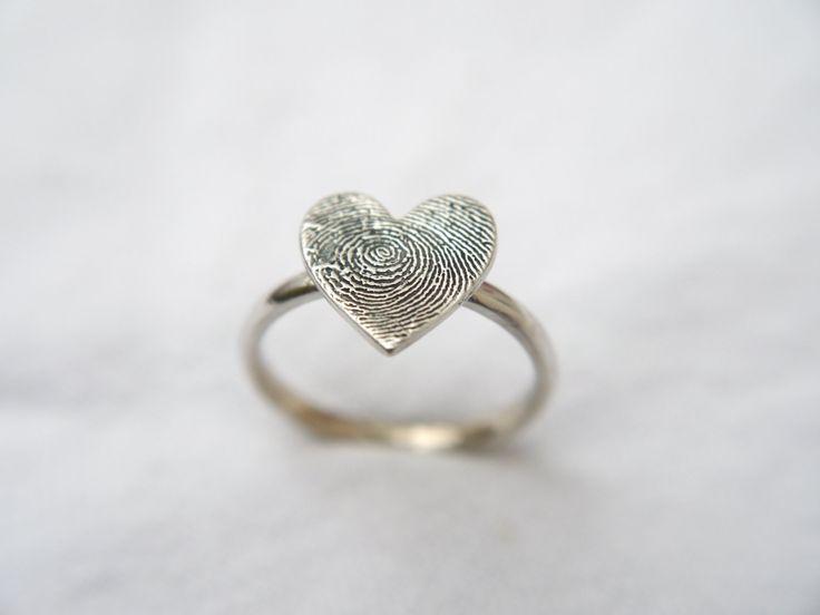 fingerprint jewellery ,heart shaped sterling silver fingerprint ring, memorial jewellery, fingerprint ring, girlfriend jewellery by LittleImpJewellery on Etsy