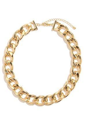 "What do we like best about the Best of All Gold Chain Necklace? Well, this chunky chain necklace with glimmering gold links and a short collar length goes with pretty much everything you own! Necklace measures 1""wide and 16"" around, plus a 3"" extender chain. Lobster clasp closure. Man made materials. Imported."