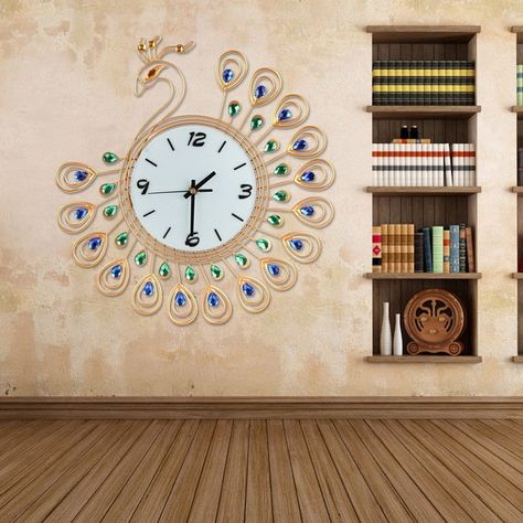 Large Peacock Wall Clock Decor Art Modern Living Room Gold Home Decoration Watch