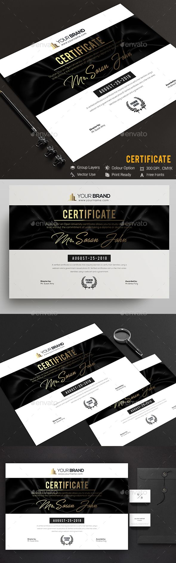 CertificateCertificate Template Fully Clean Certificate A4 Paper Size With Bleeds Quick and easy to customize templates Any Size Changes Fully Group Layer Free Fonts Use Fully Vector