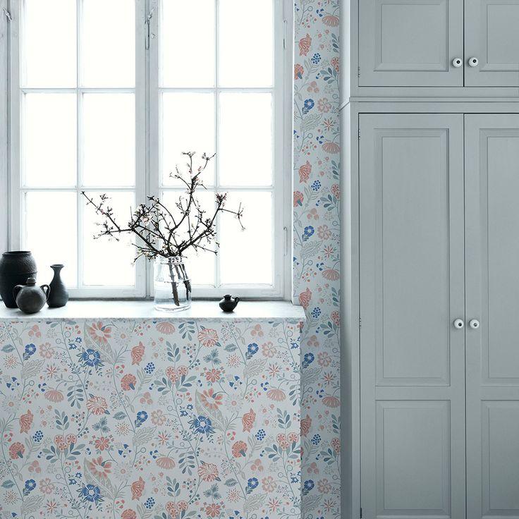 Wand Graublau: Tolle Tapete Mit Blüten Von Sandberg
