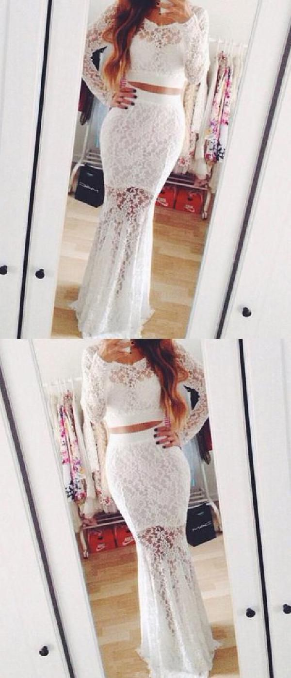 White lace evening dresses prom dresses white prom dresses two