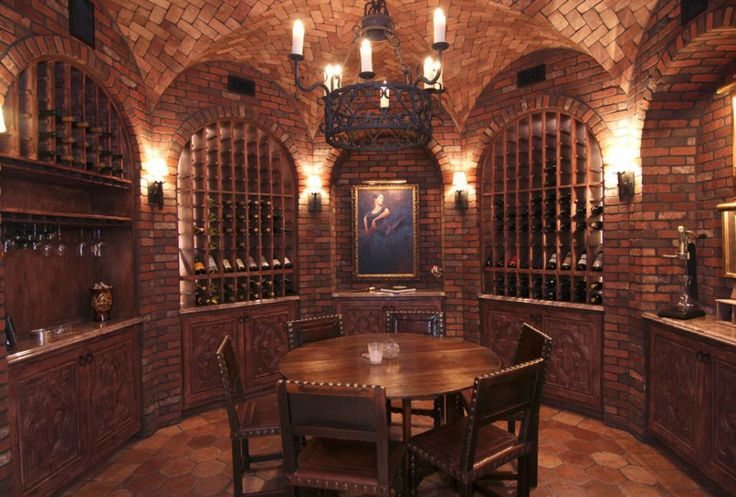 Decorations & Accessories, : Luxury Wine Cellar Design With Exposed Wall Brick Column Plus Concrete Stamp Floor Plus Wooden Dining Table Wit...